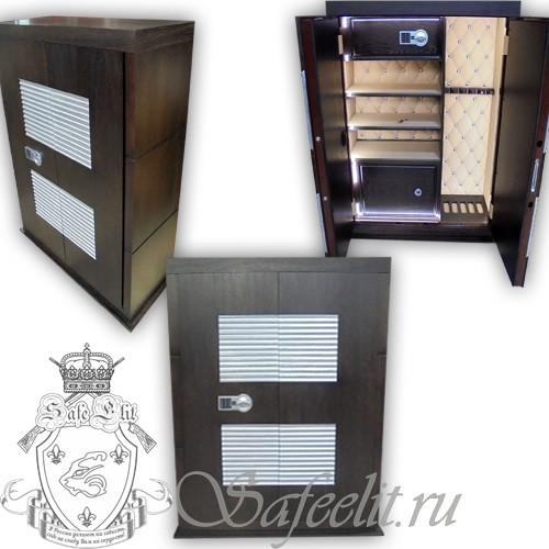 Элитный оружейный сейф шкаф с отделкой деревом на 5 стволов Адаричев ОШЭЛ 535/1500 ДПЭZ