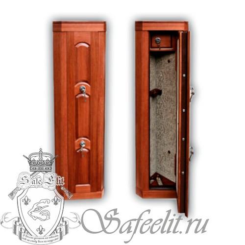 Элитный оружейный угловой сейф шкаф с отделкой деревом на 2 ствола Адаричев ОШЭЛ 235 У