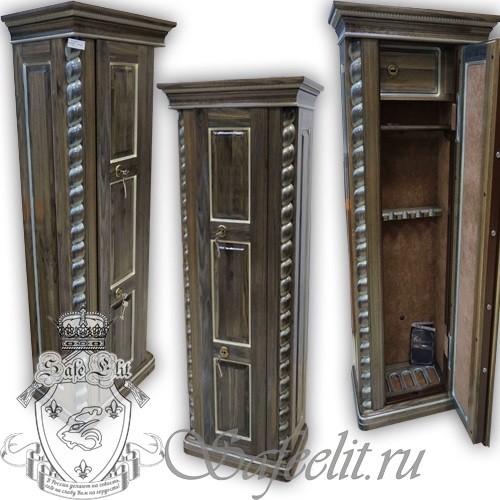 Элитный оружейный сейф шкаф на 5 стволов Адаричев ОШЭЛ 535 ПZ (мореный дуб)