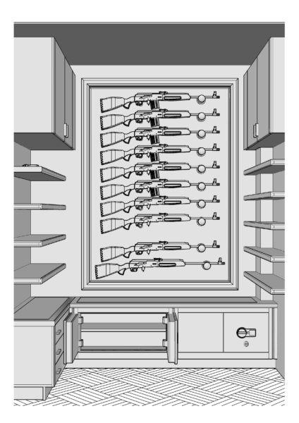 Оружейная комната охотника для хранения 10 ружей эконом (Прототип)
